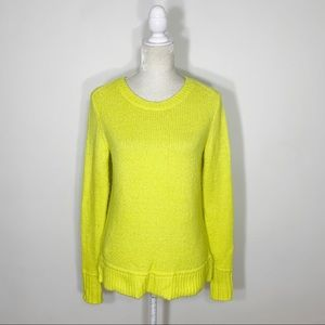 ANN TAYLOR LOFT neon yellow wool knit sweater